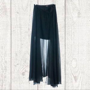 BEBE Sheer black Maxi Mini Skirt NWOT